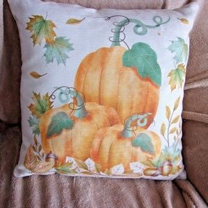 """16"""" NEW fall autumn harvest pumpkin accent pillow"""